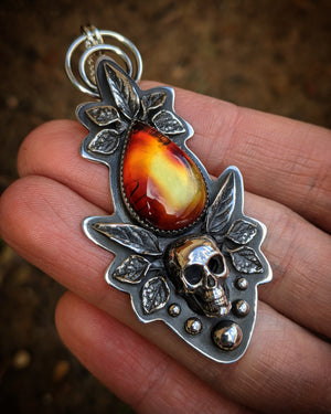 Rare Fire Amber Leaf Casted Human Skull Ball Border Pendant With (1) 18 INCH Sterling Silver Chain