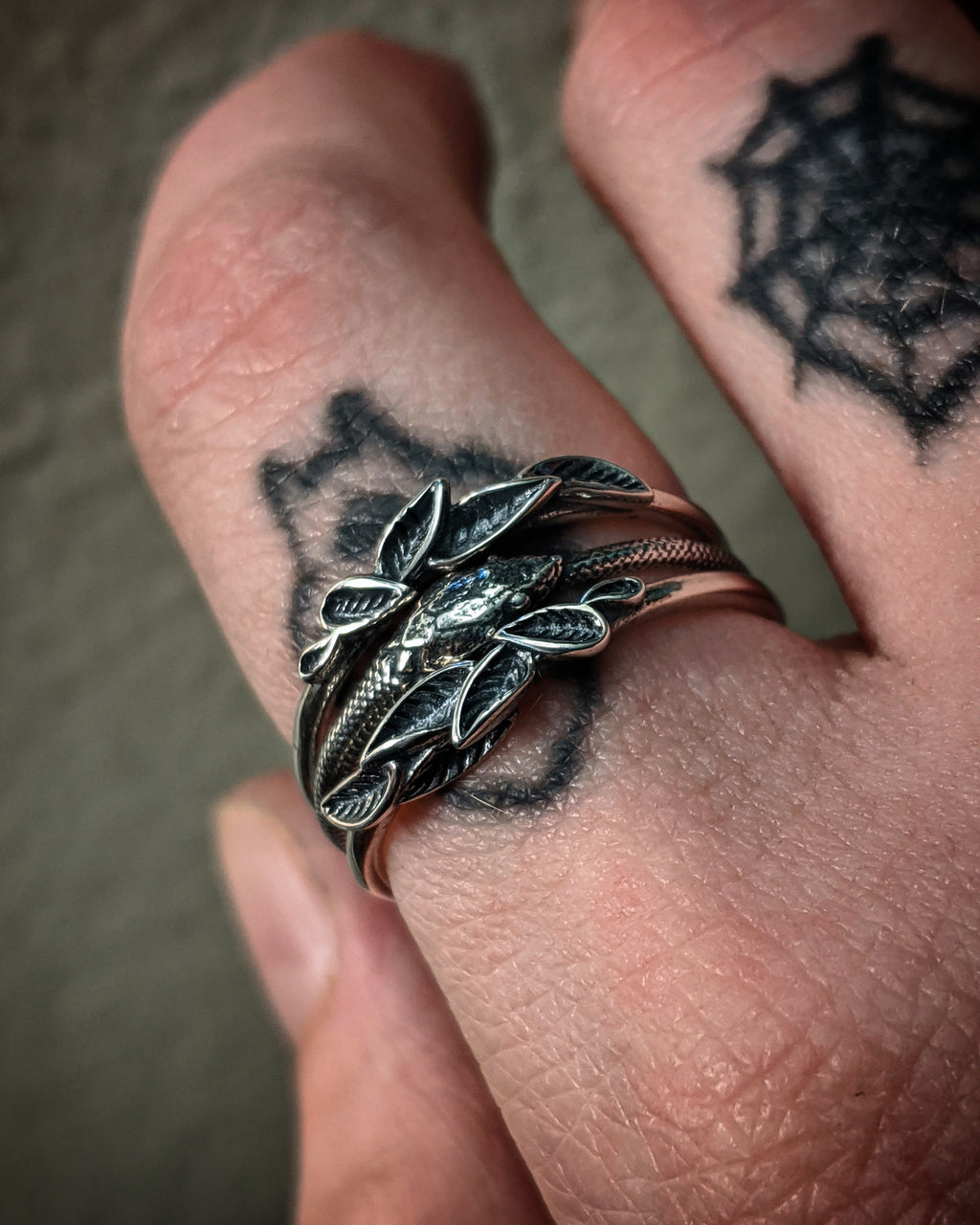 Detailed Ouroborus Snake And Leafs Sterling Silver Stacking Rings