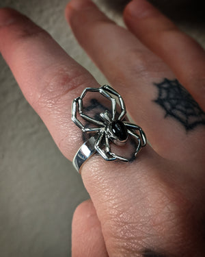 Spider Ring With Faux Black Onyx Sterling Silver Ring