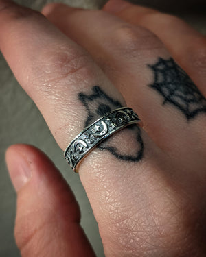 Magical Moon And Star Night Sterling Silver Ring