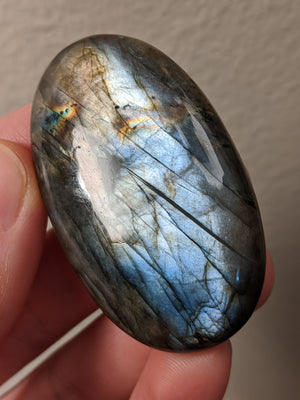 Large Grey Blue Labradorite Palm Stone Cabochon