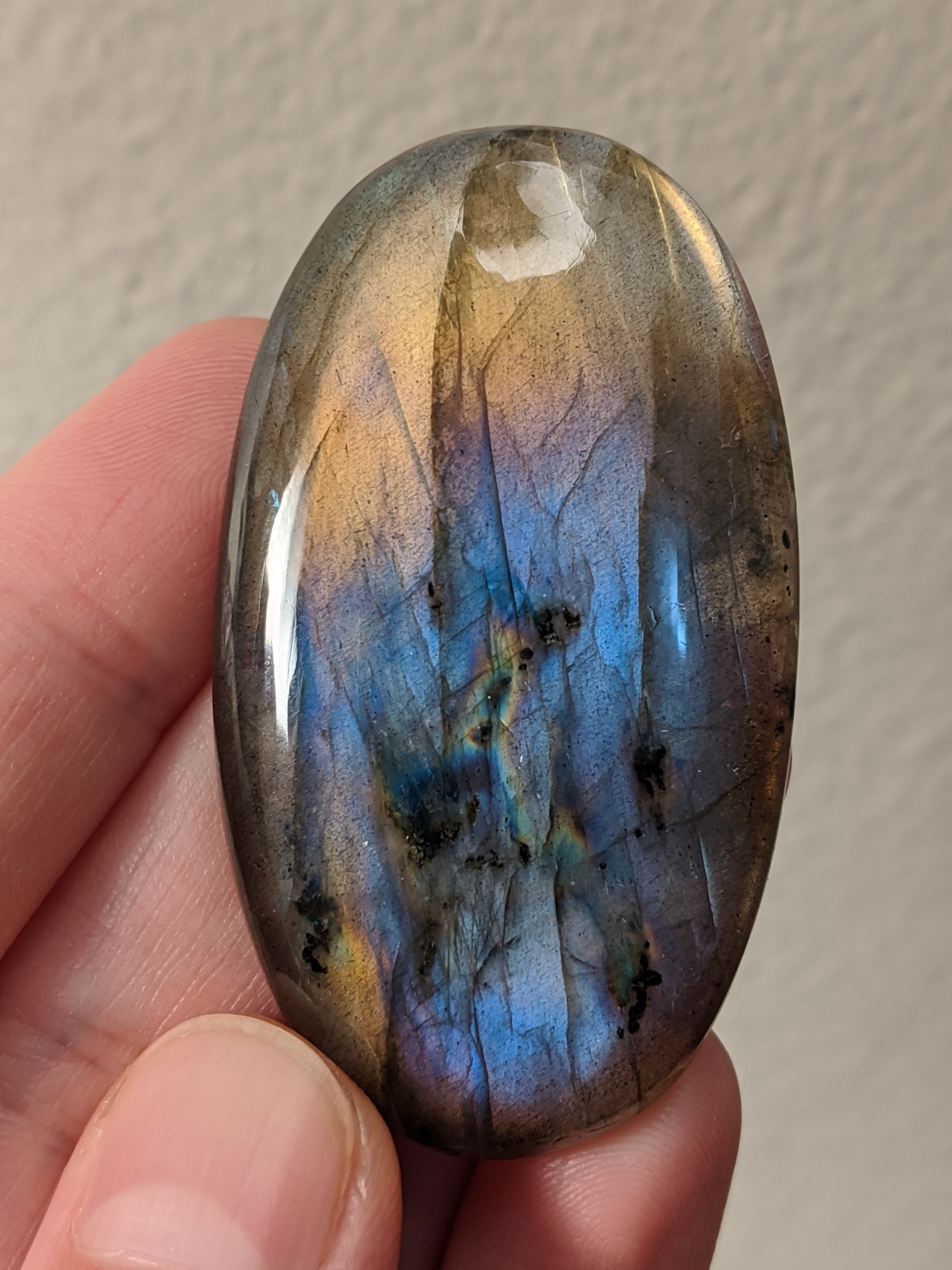 Large Purple Gold Labradorite Palm Stone Cabochon
