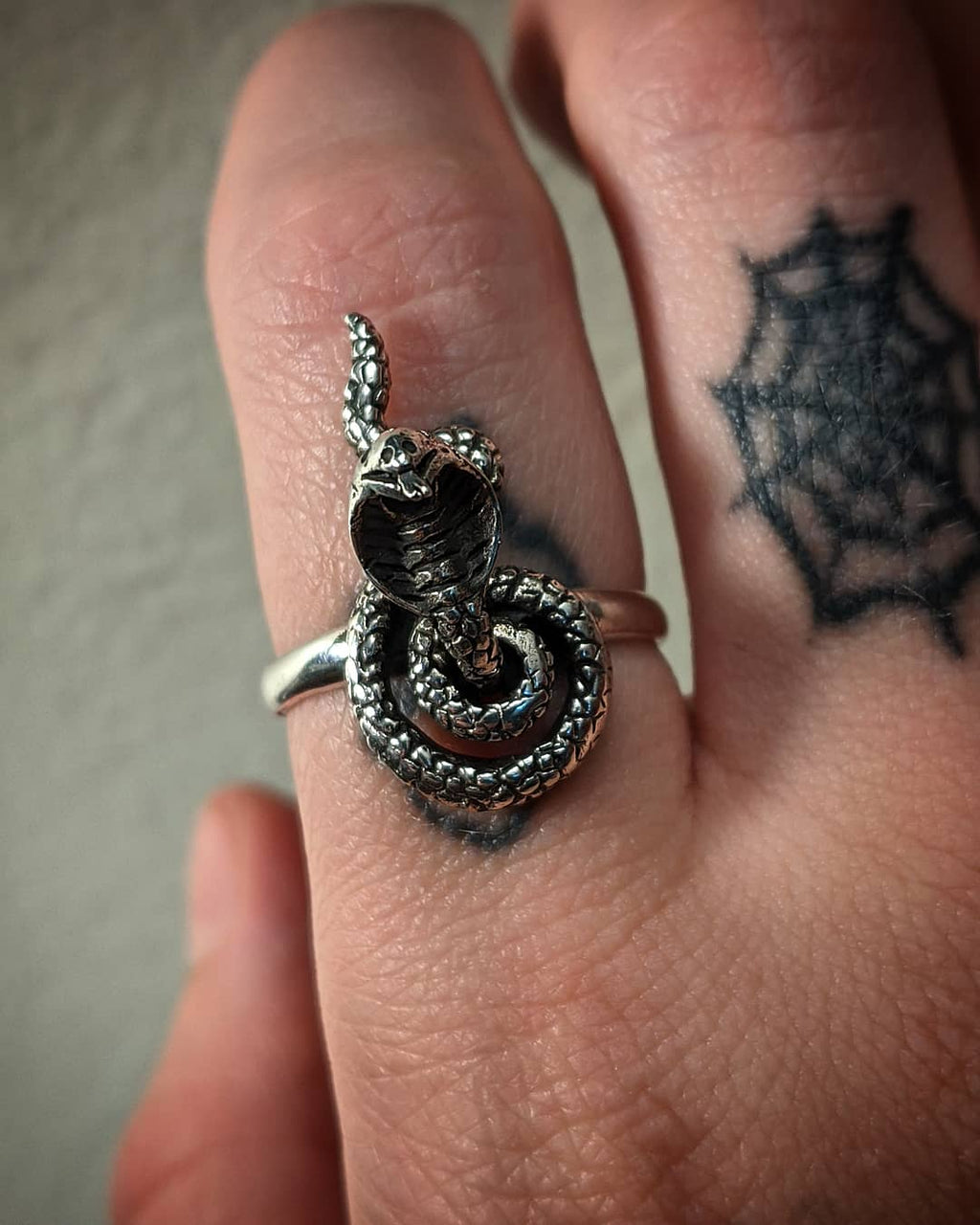 Moveable Cobra Snake Solid Sterling Silver Ring