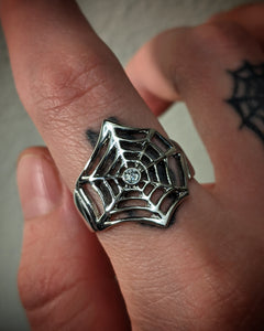 Spider Web Cubic Zircona Center Stainless Steel Ring