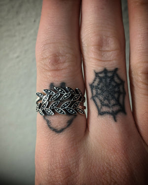 Double Leaves Sterling Silver Rings