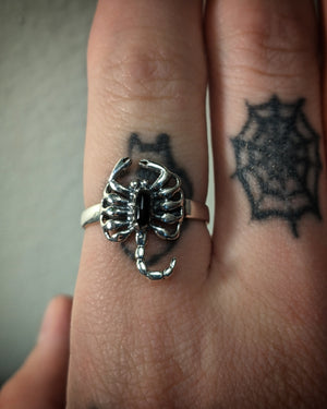 Scorpion With Faux Onyx Sterling Silver Ring