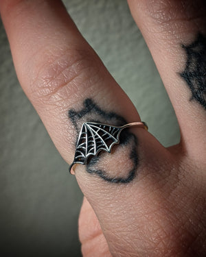 Abstract Spiderweb Sterling Silver Ring