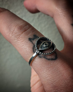 Beaded Eye Sterling Silver Ring
