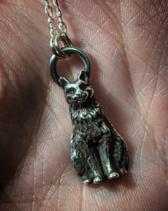 Vintage Cat Sterling Silver Necklace With (1) 18 INCH Sterling Silver Chain