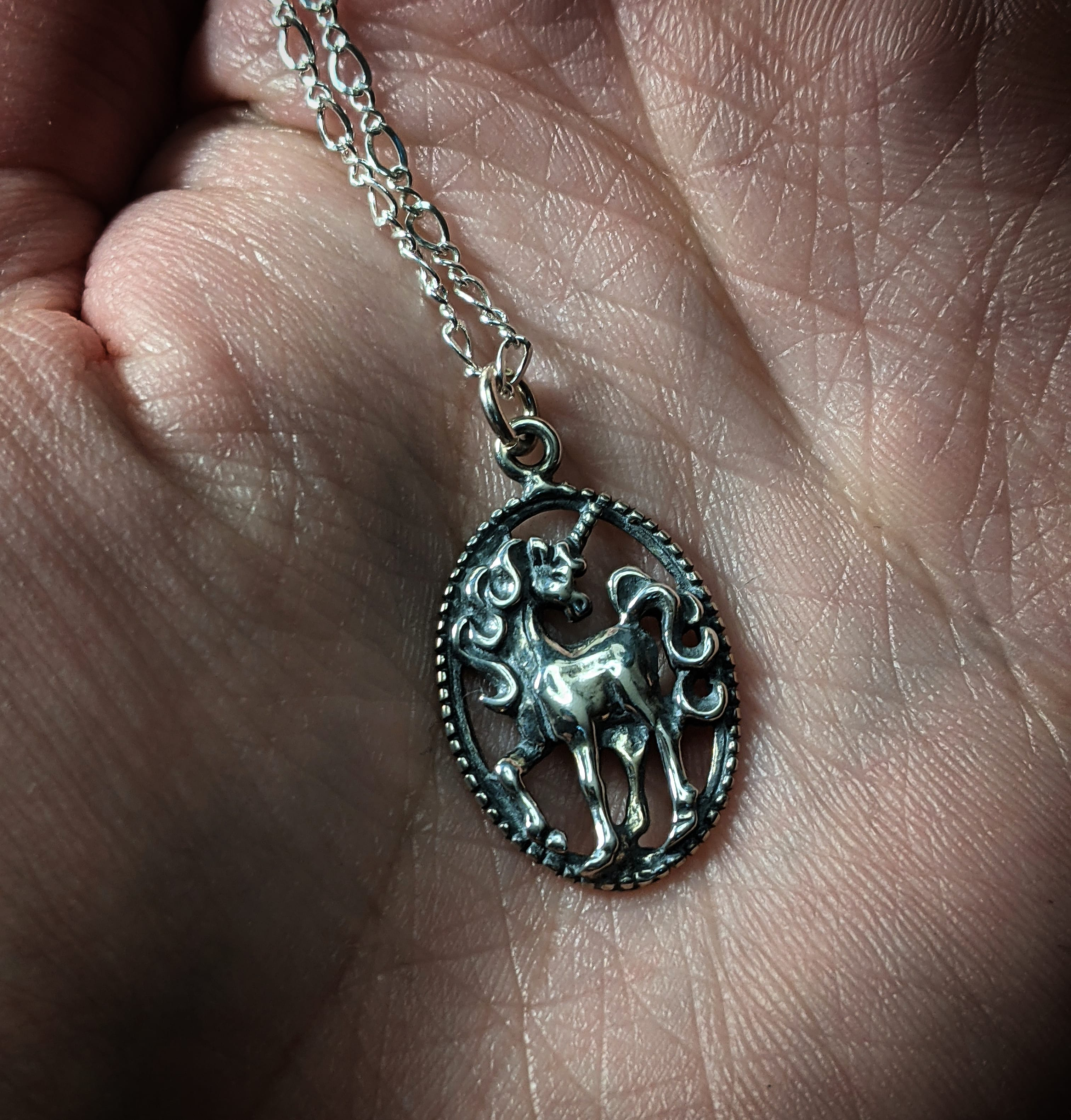 Vintage Unicorn Silver Necklace With (1) 18 INCH Sterling Silver Chain