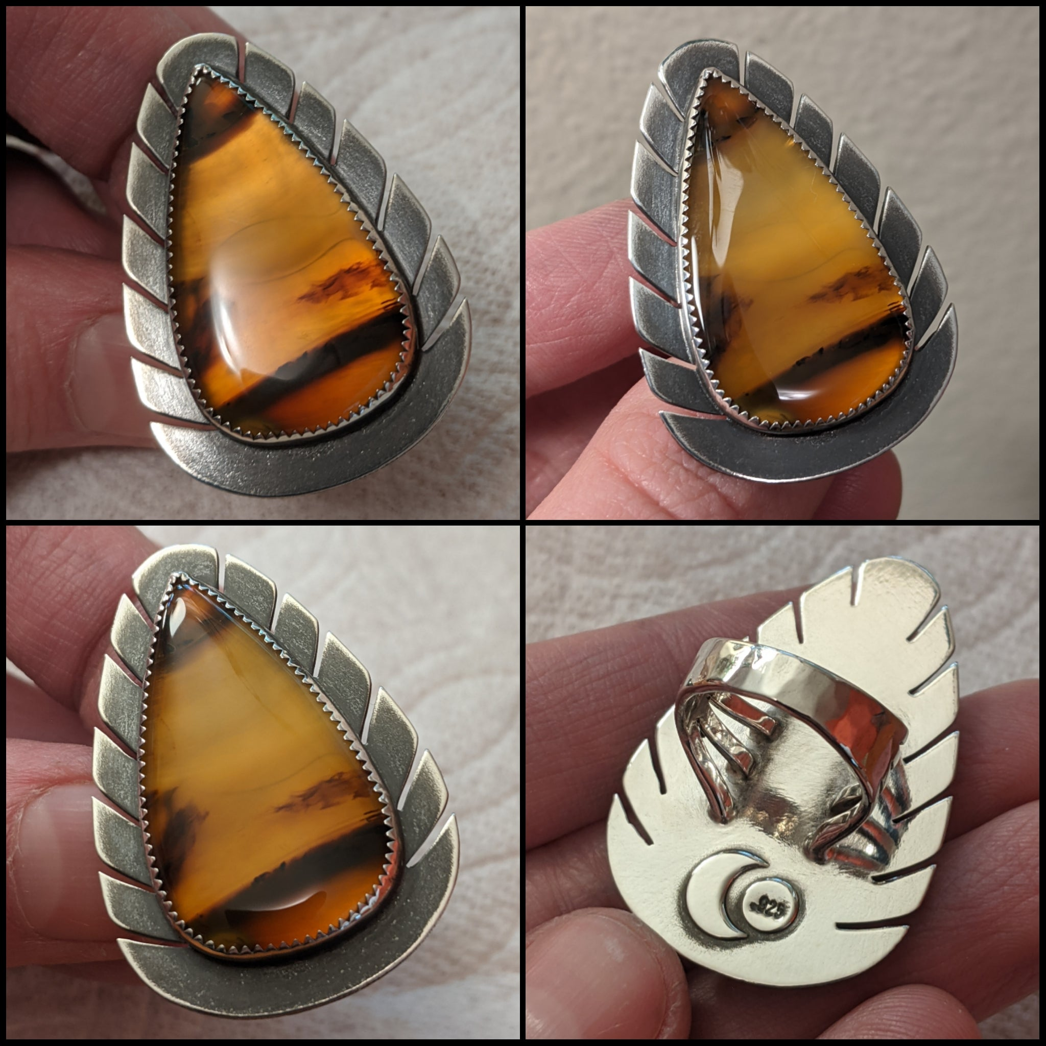 FINAL PAYMENT for Made To Order Montana Agate With Feather Border ( SIZE 6 )