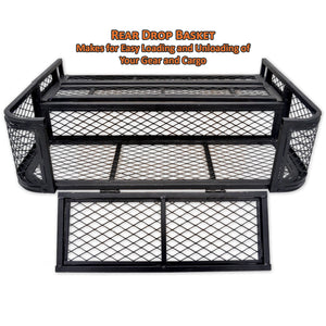 rear drop basket makes for easy loading and unloading of your gear and cargo