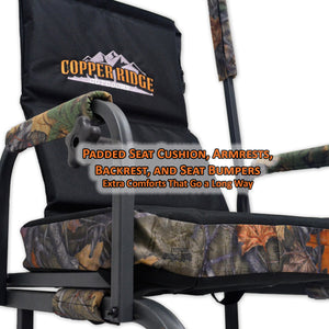 padded seat cushion, armrests, backrest, and seat bumpers provide extra comfort