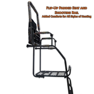 flip up padded seat and shooting rail for extra comfort and mobility in all styles of hunting