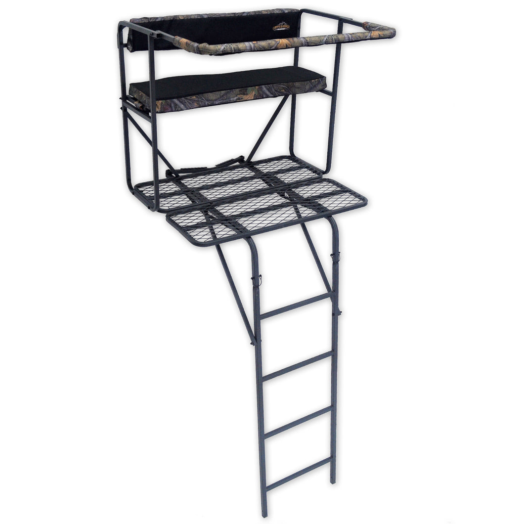 Copper Ridge Outdoors deluxe two-man deer stand front view