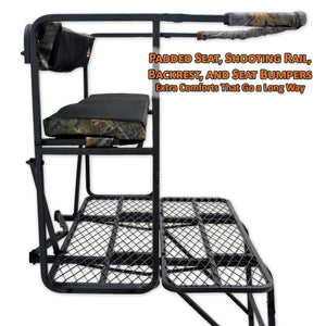 padded seat, shooting rail, backrest, and seat bumpers for extra comfort in a ladder stand