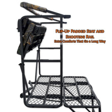 flip up padded seat and shooting rail for extra comfort and mobility