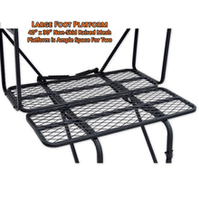 large foot platform is 40 inches by 30 inches with non-skid raised mesh that provides ample room for two