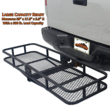 large capacity ready hitch cargo carrier holds up to 500 pounds