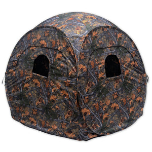 Copper Ridge Outdoors pop-up blind with blacked-out inside and shooting windows