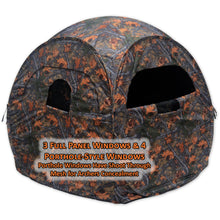 3 full panel windows and 4 porthole style windows have shoot through mesh for archers concealment
