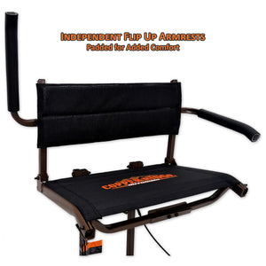 independent flip up armrests are padded for extra comfort