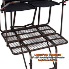 large foot platform is 40 inches by 30 inches with sure grip that provides ample room for two
