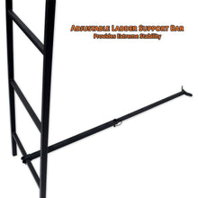 adjustable ladder support bar provides extreme stability