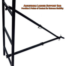 adjustable ladder support bar provides 2 points of contact for extreme stability
