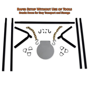 Copper Ridge Outdoors steel gong target with stand unassembled parts