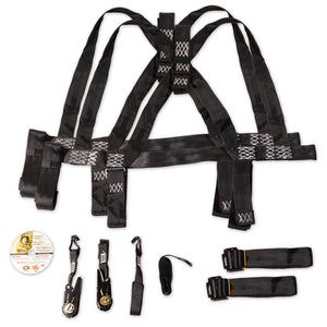 two safety harnesses, instructional DVD, and safety kit