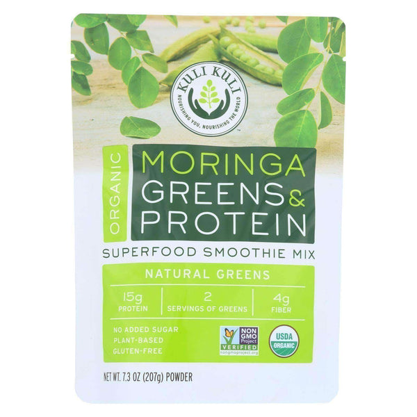 Earth Nourish:Kuli Kuli Moringa Greens and Protein Powder - Natural Greens - 7.3 oz