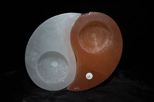 Selenite Candle Holders - Yin and Yang #1