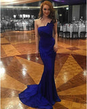 One-shoulder Satin Sweep Trailing Simple Prom Dresses Bridesmaid Dresses DPB120