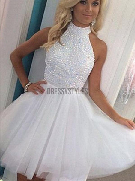 Gorgeous Halter Open Back With Rhinestone Tulle Short Homecoming Dress, BTW224