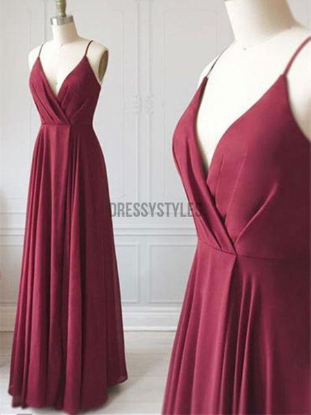 Simple Spaghetti Straps V Neck Burgundy Chiffon Long Prom Dresses ,MD369