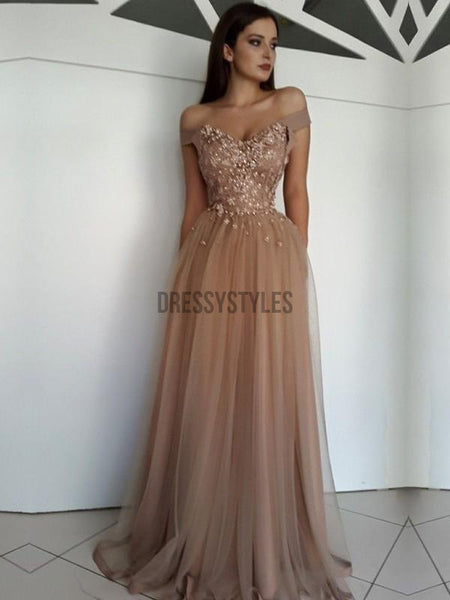 Elegant Off The Shoulder Lace Beaded A Line Floor Length Long Prom Dresses, MD441