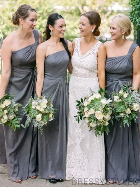 Unique One Shoulder Bridesmaid Dresses, Wedding Party Dresses, MD580