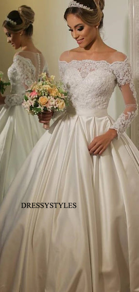 Gorgeous Off Shoulder Long Sleeve Ball Gown Satin Wedding Dresses, WD1142
