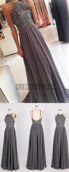 Gorgeous Grey Halter Chiffon With Beading Evening Dress Long Prom Dresses, MD393