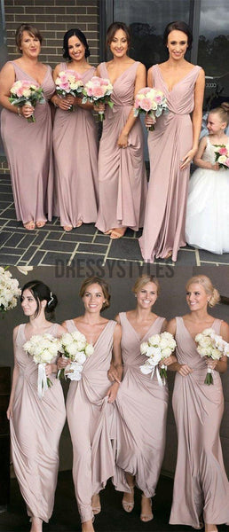 Cheap Dusty Pink V Neck Simple A Line Sleeveless Long Bridesmaid Dresses, MD530