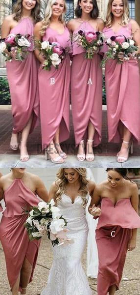 Mismatched Simple Elastic Satin High Low Sleeveless Long Bridesmaid Dresses, MD507