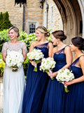 Simple Navy Blue One Shoulder A-Line Tulle Bridesmaid Dresses, MD539