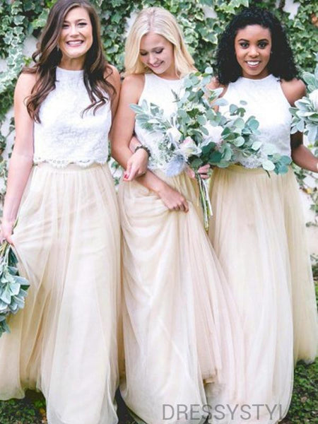 Lace Top A-Line Tulle Bridesmaid Dresses, Wedding Party Dresses, MD583