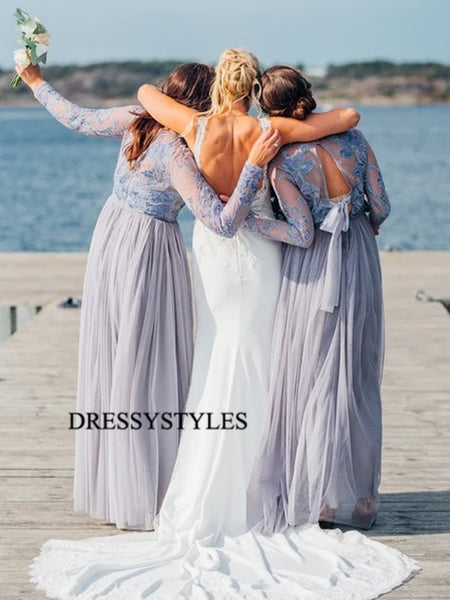 Illusion Lace Top Bridesmaid Dresses, Wedding Party Dresses, MD585