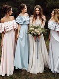 Unique Off Shoulder A-Line Bridesmaid Dresses, Wedding Party Dresses, MD574