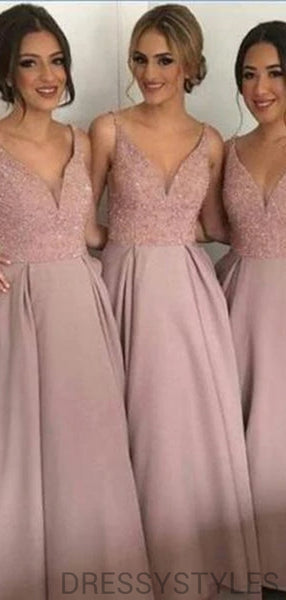 Alluring Dusty Rose V-Neck Sequin Top A-Line Bridesmaid Dresses, MD540