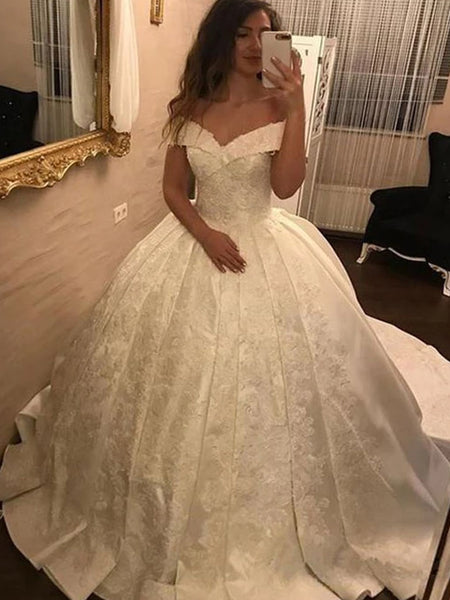 Gorgeous Off Shoulder Ball Gown With Embroided Wedding Dresses, WD1133
