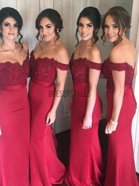 Pretty Burgundy Off The Shoulder Lace Top Mermaid Long Bridesmaid Dresses, MD410