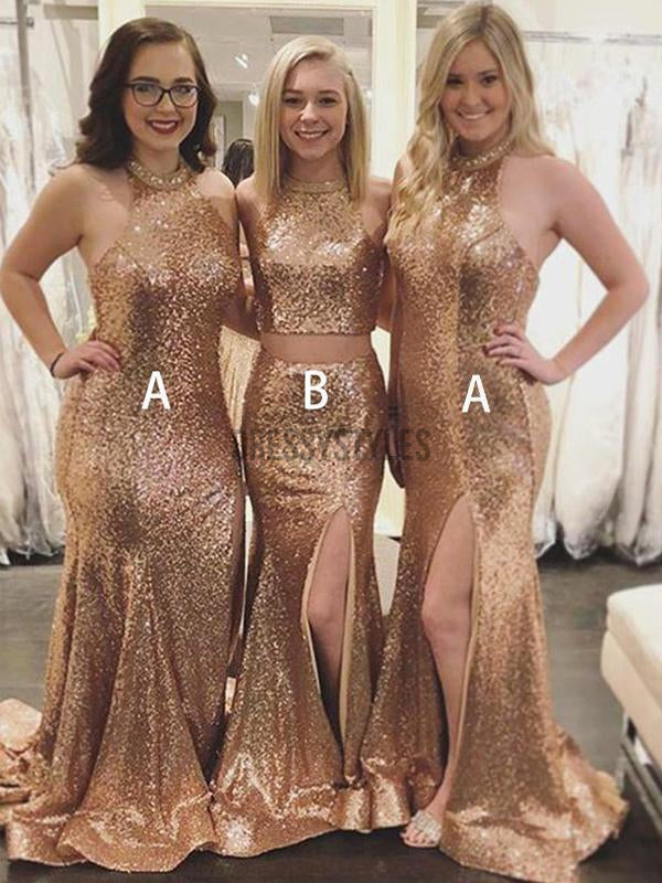 Mismatched Side Slit Sweep Trailing Sequined Mermaid Long Bridesmaid Dresses, MD500